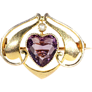 Antique Heart Shaped Amethyst and Pearl Murrle, Bennett & Co. Brooch Pin in 9k Gold