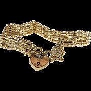 Victorian 15k Gold Gate Bracelet with Heart Lock Closure