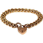 Lovely Antique 9k Rose Gold Curb Link Bracelet with Heart Lock Clasp, Hallmarked 1904