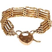 Antique Victorian Gate Bracelet in 15k Gold with Heart Padlock