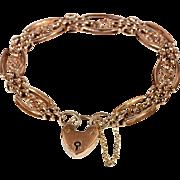Antique Victorian 9k Rose Gold Gate Bracelet with Heart Lock