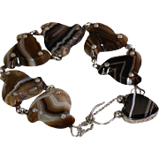 Antique Victorian Silver & Banded Agate Scottish Style Bracelet