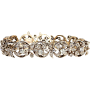 Antique French 5ctw Diamond Bracelet in 18k Gold and Silver