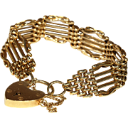 Wonderful Wide Antique Victorian Gate Bracelet, 15k Gold, 7""