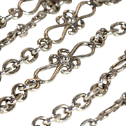 SALE Antique Arts & Crafts Fancy Link Silver Chain, 27.5 Inches, Sterling
