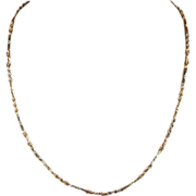 """Two-Tone 9k Gold Chain with Alternating Links, 18"""" c. 1920"""