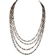 "Rare 60"" Victorian Niello Long Guard Watch Chain, Silver & Rose Gold Wash"