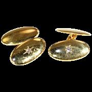 SALE Antique Edwardian Classic Mens Diamond Cufflinks in 15k Gold