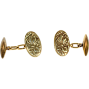SALE Antique French Art Nouveau Cufflinks with Cyclamen Flower Motif in 18k Gold