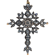 SALE Antique Georgian Diamond Flemish Cross in 14k Gold and Silver