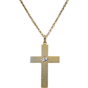Clearance Sale!! - Antique French Diamond Cross, 18k Gold c.1880