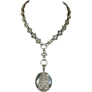 "Silver Victorian Collar and Locket Set, 18"" Bird and Heart Motif"