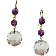 Vintage Art Deco Faceted Rock Crystal and Amethyst Earrings in 9k Gold