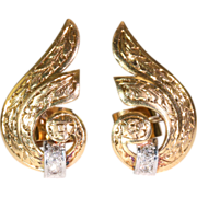 Scrolling Retro Gold and Platinum Earrings with Diamond, c. 1940