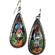 Vintage Art Deco Painted Morpho Butterfly Wing Earrings with Dutch Children, c. 1920