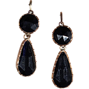 SALE Antique Georgian Jet 'Night and Day' Earrings in 9k Gold with Back to Front ...