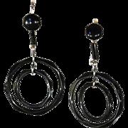 Fabulous Art Deco Jet Double Circle Earrings in Silver, c. 1920