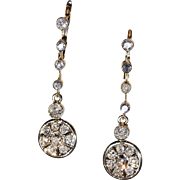 Antique Edwardian Dangly Diamond Earrings, over 2 carats, *Video*