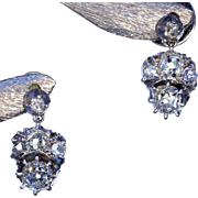 SALE Antique Early Victorian Diamond Earrings in Silver and Gold, c. 1850