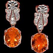 Stunning Art Deco Fire Opal, Diamond and Platinum Earrings