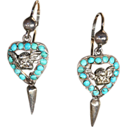 Cheeky Victorian Angel Earrings with Turquoise Hearts, Silver and Gold