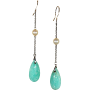 Antique Edwardian Amazonite and Pearl Silver and Gold Earrings