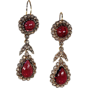 SALE Vintage Cabochon Garnet and Diamond Earrings, Long and Lovely!