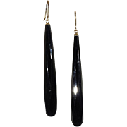 Long Antique Victorian Faceted Onyx Earrings with 9k Gold Wires