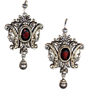 SALE Antique Silver and Garnet Earrings with Gold Accents