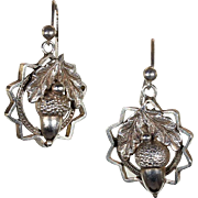 Antique Oak Leaf and Acorn Earrings in Sterling Silver, Victorian