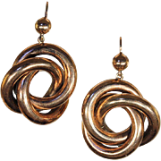 Large Antique Love Knot Earrings in 9k Rose Gold