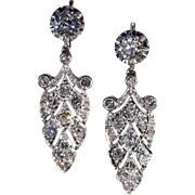 SALE Stunning Antique French 4.2ctw Diamond Earrings in Platinum