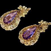 Antique Victorian Amethyst Earrings in 18k Gold Frames