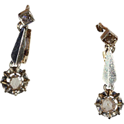 Vintage Art Deco Rose Cut Diamond Earrings in 18k Gold and Silver