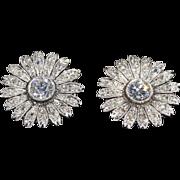 Art Deco Diamond Daisy Cluster Earrings, c. 1930 in Platinum