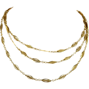 "Antique French 44"" Long Guard Chain, 18k Gold c. 1890"