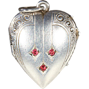 Victorian Silver Heart Shaped Locket Set with Garnets