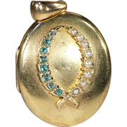SALE Antique Emerald and Pearl Locket with Wreath Motif in 18k Gold