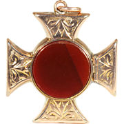 SALE Antique Cross Pattée Locket with Carnelian Cover in 9k Rose Gold