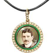 SALE Round Enamel and Pearl 15k Locket with Portrait of a Gentleman