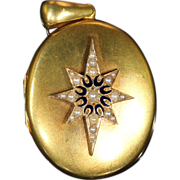 Antique Victorian Pearl and Black Enamel Oval Star Locket, 18k Gold