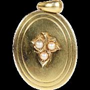 Antique 18k Gold Point Set Pearl Locket, c. 1880