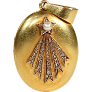 Fantastic French Halley's Comet Locket in 18k Gold, Diamond and Pearl