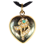 SALE Antique Victorian Heart Shaped Emerald and Pearl Locket in 15k Gold
