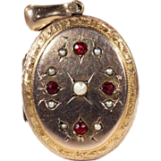 Antique Victorian Garnet and Pearl Locket in 15k Gold