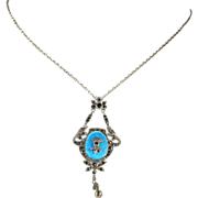 Antique Aqua Blue Enameled Necklace, Silver and Marcasite