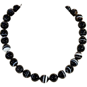 Antique Banded Agate Bead Necklace, 18 inches