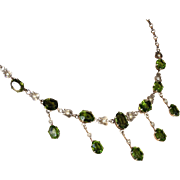 SALE Antique Edwardian Tourmaline and Pearl Necklace in Sterling Silver