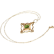 Lovely Sparkling Edwardian Peridot and Pearl 15k Gold Pendant on 9k Gold Chain