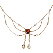 Fantastic Edwardian Topaz and Pearl Necklace in 9k Gold